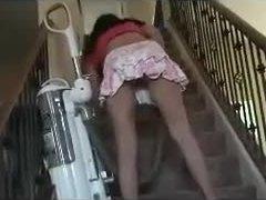 Maid, Upskirt, Skirt, Homemade, Pussy, Vacuum, Panties, Voyeur, Amateurs