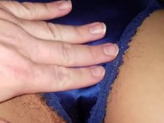 Interracial, Satin, Wife, Wet, Clit, Pussy, Hairy, Panties, High definition, Black, Ebony, Big clit